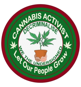 Green circular badge with red ring and white writing hands holding a plant in the middle