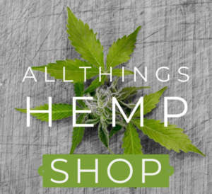 All things hemp shop on hemp leaves grey background