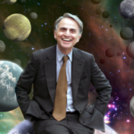 Carl Sagan with universe behind him