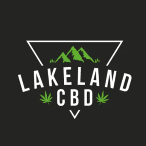 Lakeland logo white upside down triangle with green mountain range and Cannabis leaves