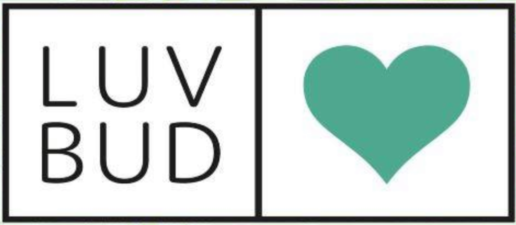 words Luv Bud with a turquoise heart