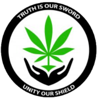 Green leave cupped by hands black surround circle logo with words Truth is our Sword Unity is our Shield