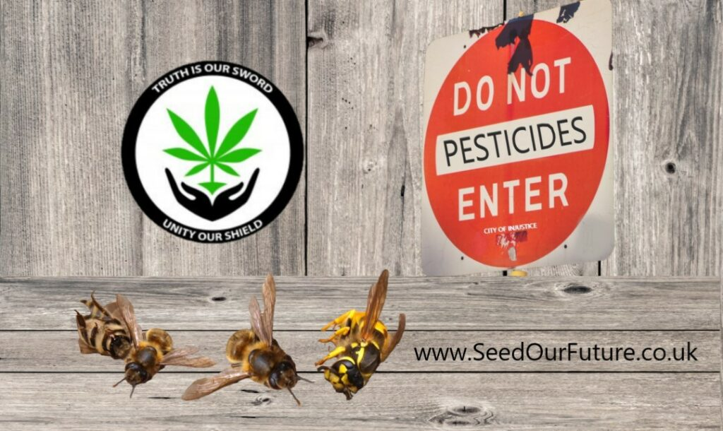 Dead bees in front of a danger pesticides sign