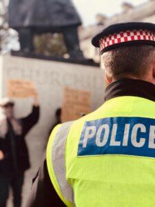 police officers back in a high viz jacket