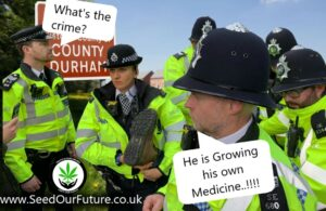 Police arresting a man for growing his own medical cannabis