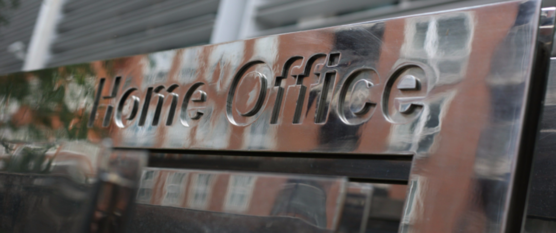 Silver sign of home office