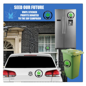 Example of sof stickers on a car a window an a green bin
